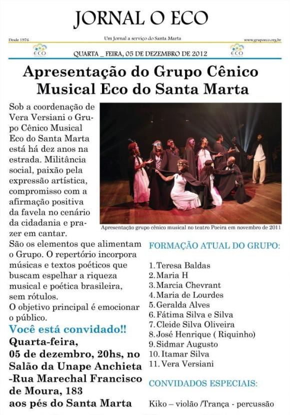 Apresentação do Grupo Cênico Musical do Eco do Santa Marta - 05/12