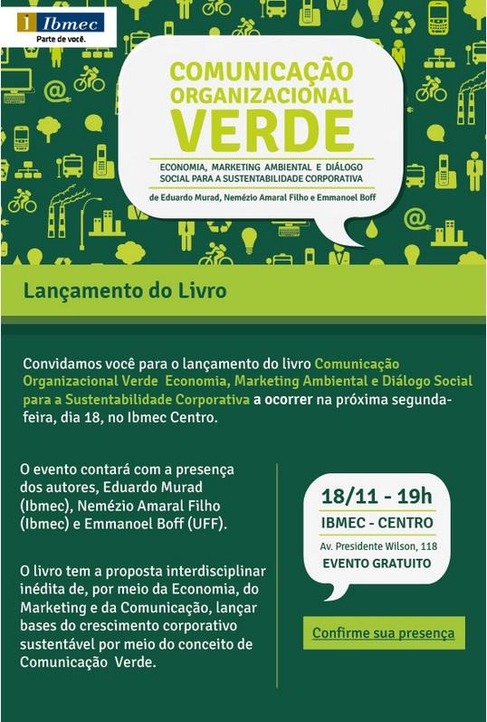 Convite para o lançamento do livro Comunicação Organizacional Verde